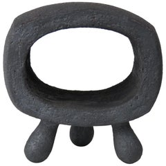 Small Dark Silver-Gray Hollow Rectangular Ring Ceramic Sculpture on 3 Legs