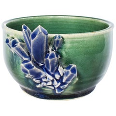 Small Decorative Contemporary Blue and Green Geode Detail Ceramic Bowl Signed