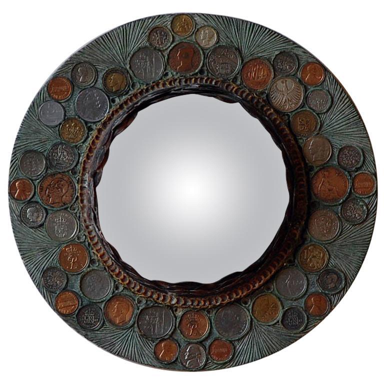 Small Decorative Convex Mirror in the Style of Line Vautrin