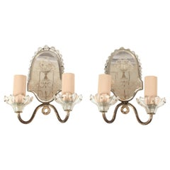 Small Decorative Mirrored Sconces, Pair