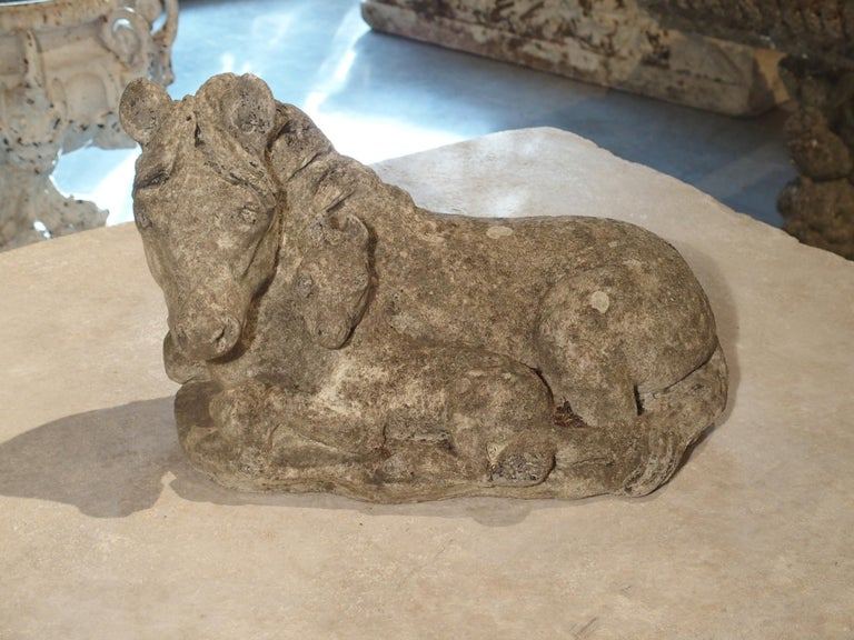 Small Decorative Ponies Statue of Reconstructed Stone from France For Sale 4