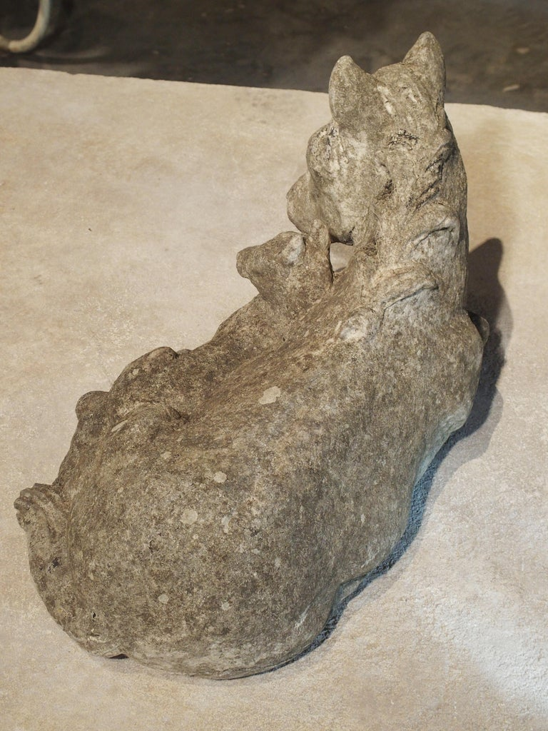 Small Decorative Ponies Statue of Reconstructed Stone from France For Sale 2