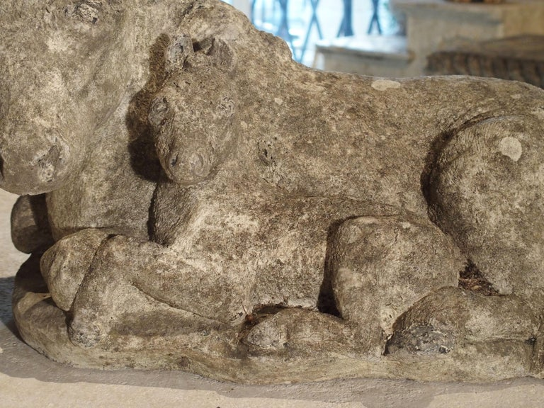 Small Decorative Ponies Statue of Reconstructed Stone from France For Sale 3