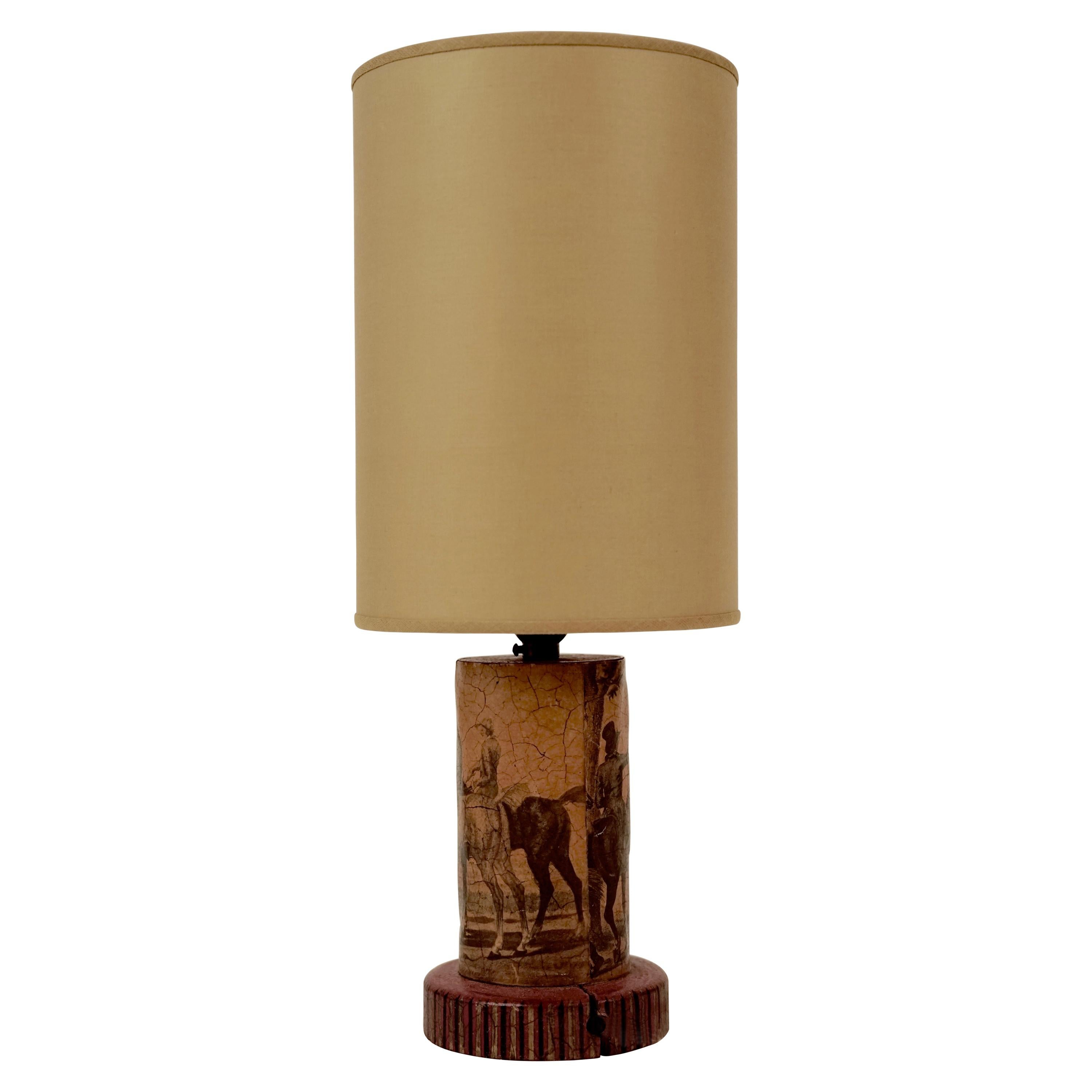 Small Découpage Table Lamp in Hollywood Regency Style