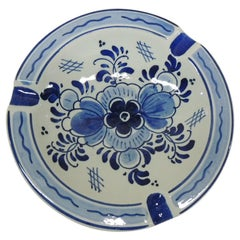 Small Delft Round Blue and White Ashtray