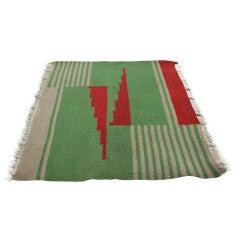 Small Design Geometric Kilim Carpet in Style of Antonín Kybal, 1950s