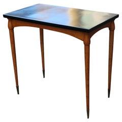 Small Desk in Maple and Walnut with Brass Design Midcentury Italian Design