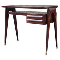 Small desk Vittorio Dassi Milano Mahogany Brass Feet Minimal Design Glass Top
