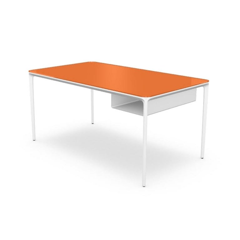 Italian Modern Small Desk with Orange Lacquered Glass Top and White Frame, Made in Italy For Sale