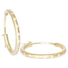 Small Diamond 18 Karat Gold Hoop Earrings