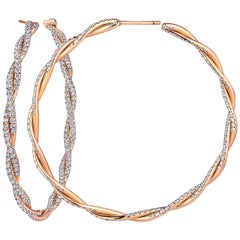 Small Diamond Rose Gold Twisted Hoop Earrings