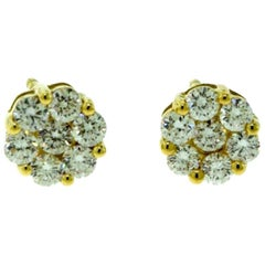 Small Diamond Round Flower Yellow Gold Studs