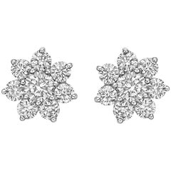 Small Diamond Star Cluster Earstuds, 2.25 Carat
