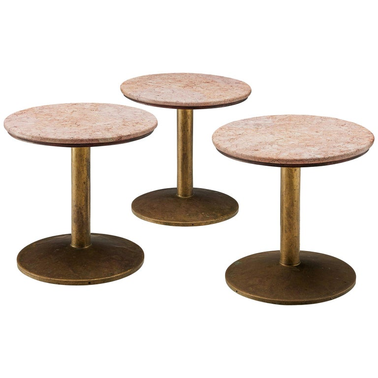 Small Dining Table with Rose Marble Top For Sale
