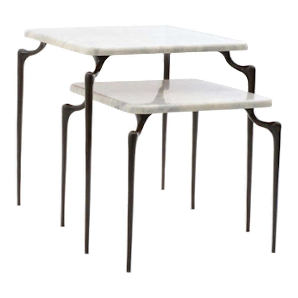 Small Dojo Side Table in Cast Bronze and Parchment by Elan Atelier