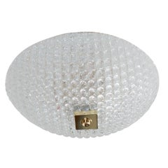 Small Dome Form Textured Glass Flush Mount Fixture