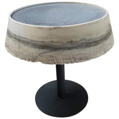 Small Draped White Zebrino Marble Cocktail Table