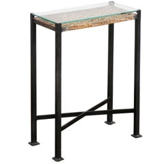 Small Drink Table Made from 1920s French Decorative Iron Panel on Custom Base