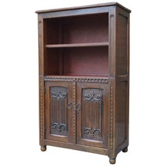 Small Early 1900s Gothic Revival Oak Monastery Bookcase for Books and Bibles