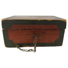 Small Early 19th Century Folk Art Red and Black Painted Wood Box