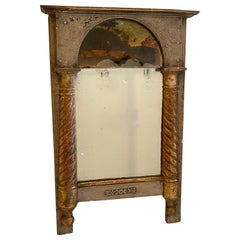 Small Early 19th Century French Empire Mirror Gilded and Reverse Glass Painting