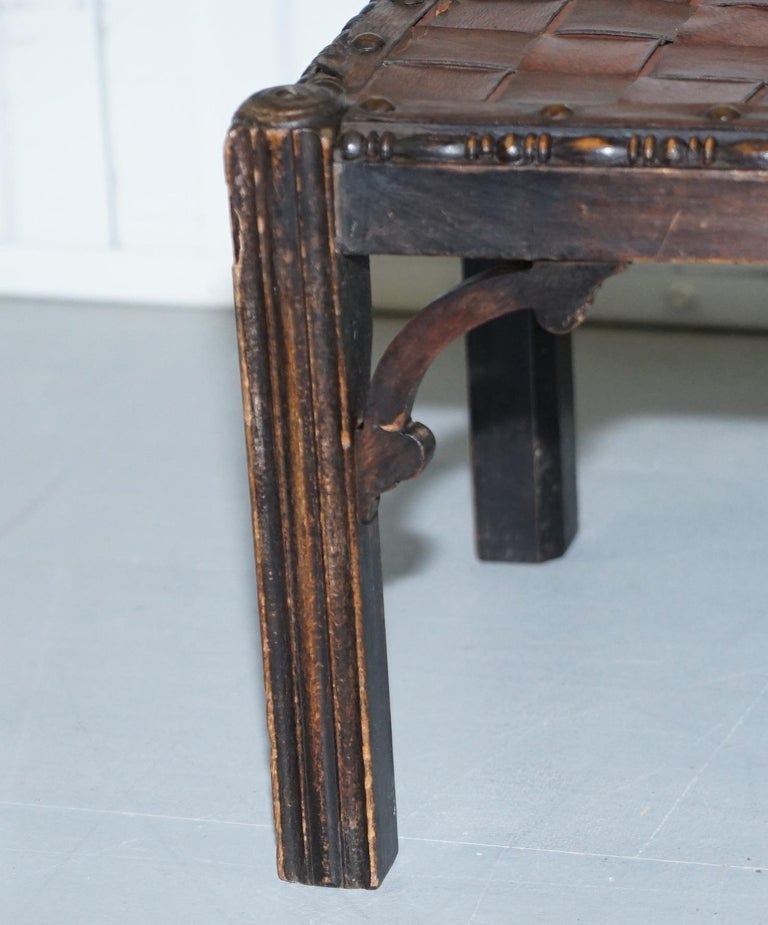 Small Early 19th Century Leather Woven Bench Style Footstool Hand-Carved Wood For Sale 9