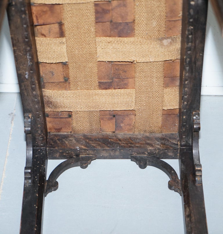 Small Early 19th Century Leather Woven Bench Style Footstool Hand-Carved Wood For Sale 14