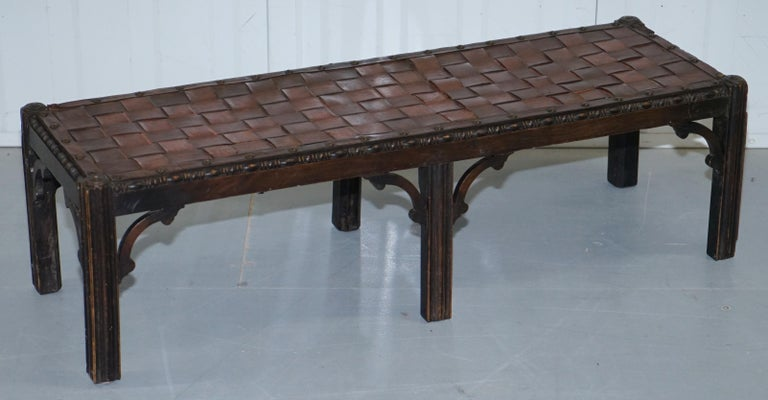Early Victorian Small Early 19th Century Leather Woven Bench Style Footstool Hand-Carved Wood For Sale