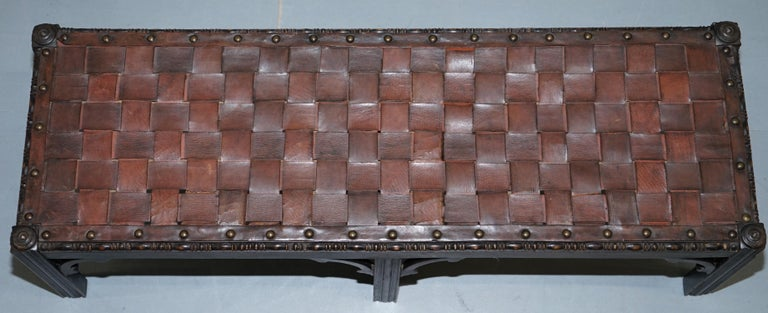 English Small Early 19th Century Leather Woven Bench Style Footstool Hand-Carved Wood For Sale
