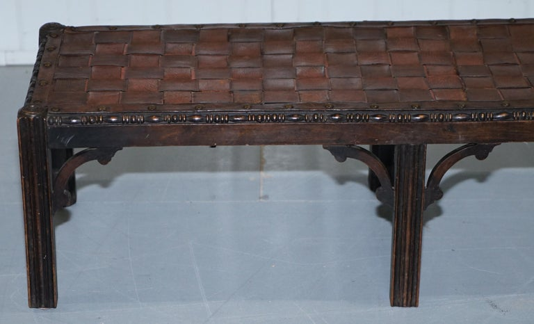 Small Early 19th Century Leather Woven Bench Style Footstool Hand-Carved Wood For Sale 2