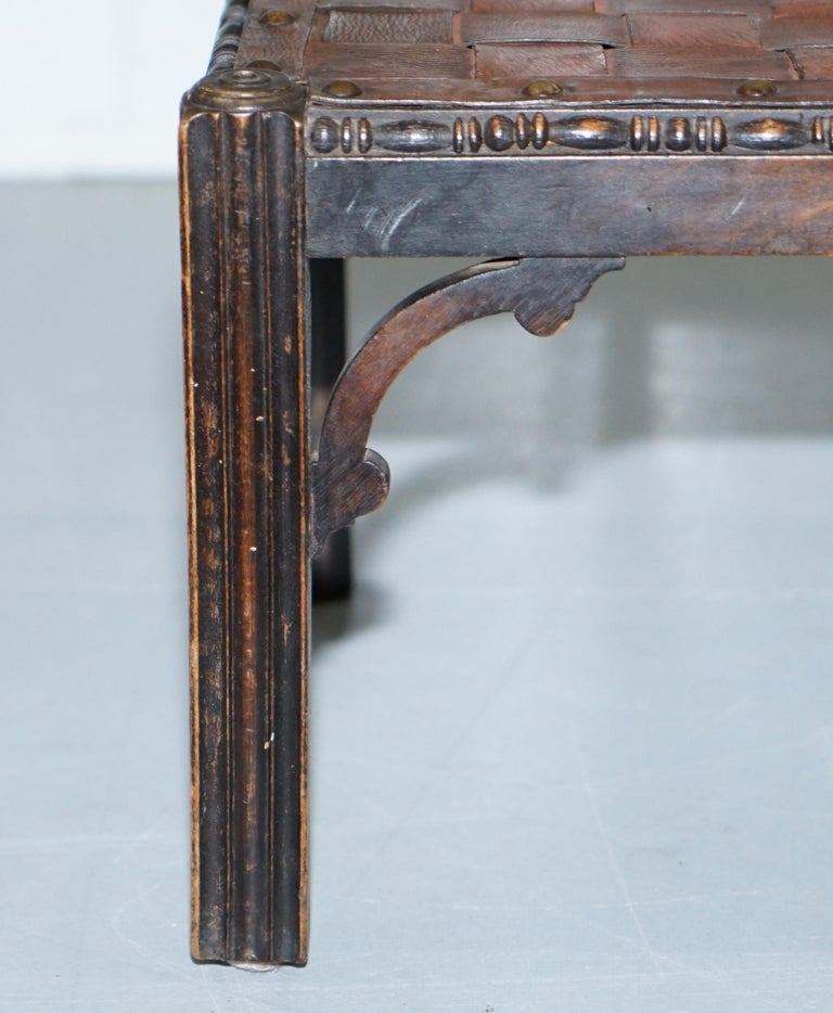 Small Early 19th Century Leather Woven Bench Style Footstool Hand-Carved Wood For Sale 3