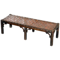 Small Early 19th Century Leather Woven Bench Style Footstool Hand-Carved Wood