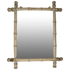 Small Early 20th Century White-Painted French Faux Bamboo Wall Mirror