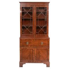 Small Early Georgian 1780-1800 Mahogany Secretaire Bureau Bookcase