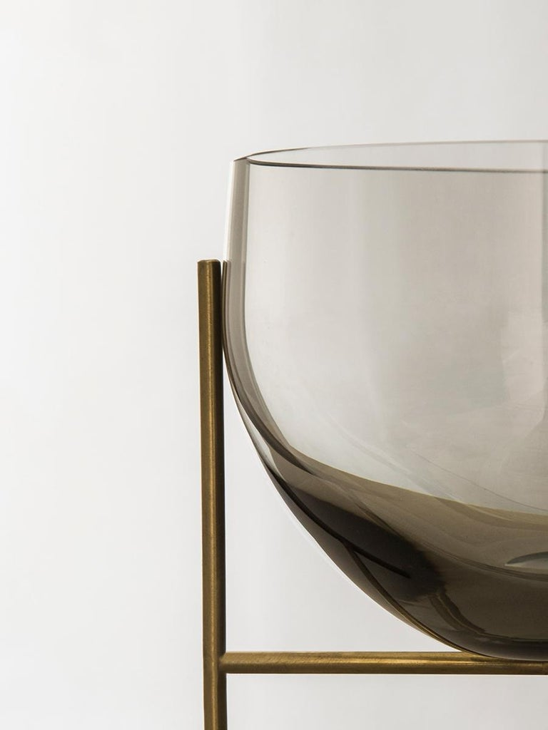 Scandinavian Modern Small Echasse Bowl by Theresa Arns, with Brass Legs and Smoked Glass For Sale