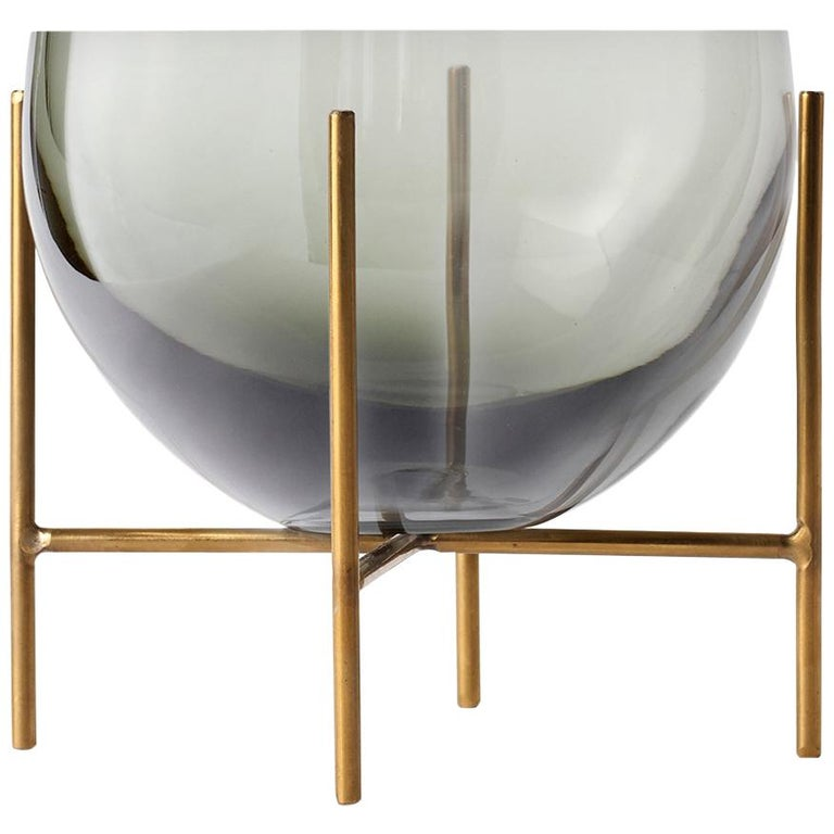 Small Echasse Bowl by Theresa Arns, with Brass Legs and Smoked Glass For Sale