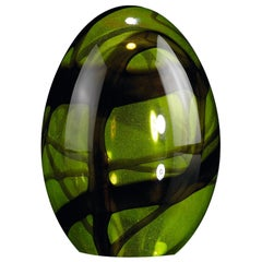 Small Egg Color Green, in Glass, Italy