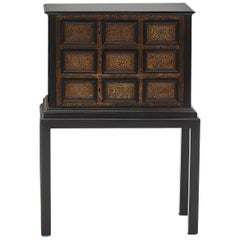Small Elegant Baroque Cabinet in Ebonized Wood with Ornamented Brass Engravings