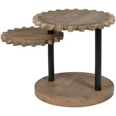 Small Elm Round Cog Side Table, Made in Italy