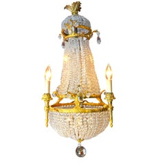 Small Empire Style Crystal and Gilt Bronze Basket Chandelier