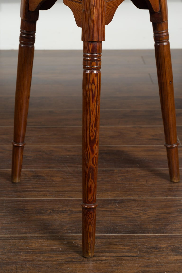 Small English 1840s Pine Cricket Table with Carved Apron and Turned Legs For Sale 1