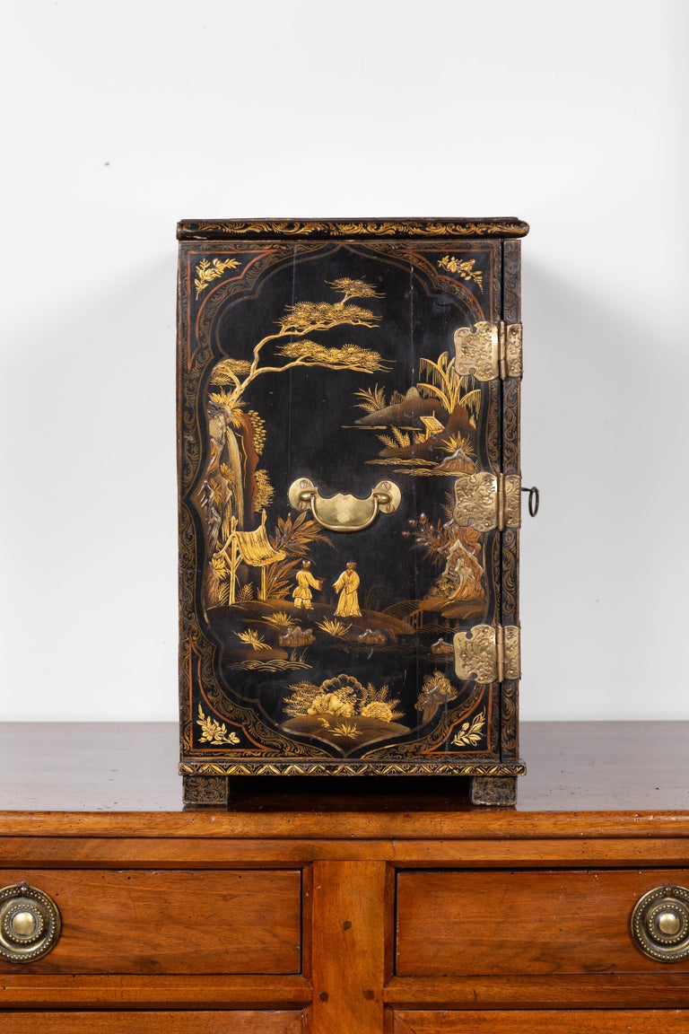 Small English 1890s Black and Gold Chinoiserie Cabinet with 10 Hidden Drawers For Sale 8