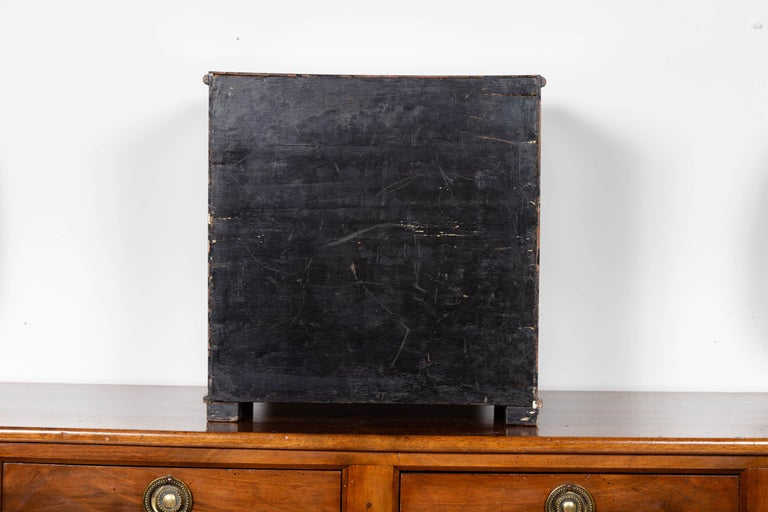 Small English 1890s Black and Gold Chinoiserie Cabinet with 10 Hidden Drawers For Sale 10