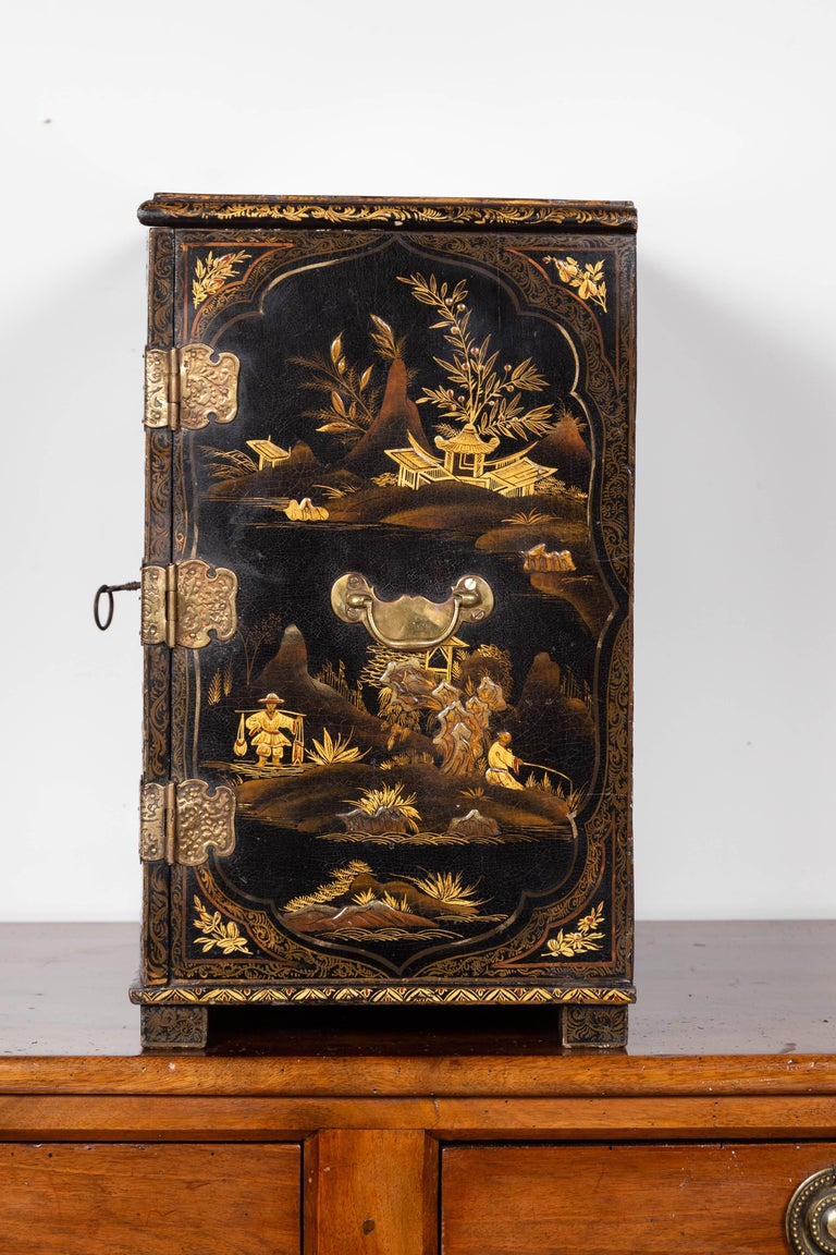 Small English 1890s Black and Gold Chinoiserie Cabinet with 10 Hidden Drawers For Sale 11
