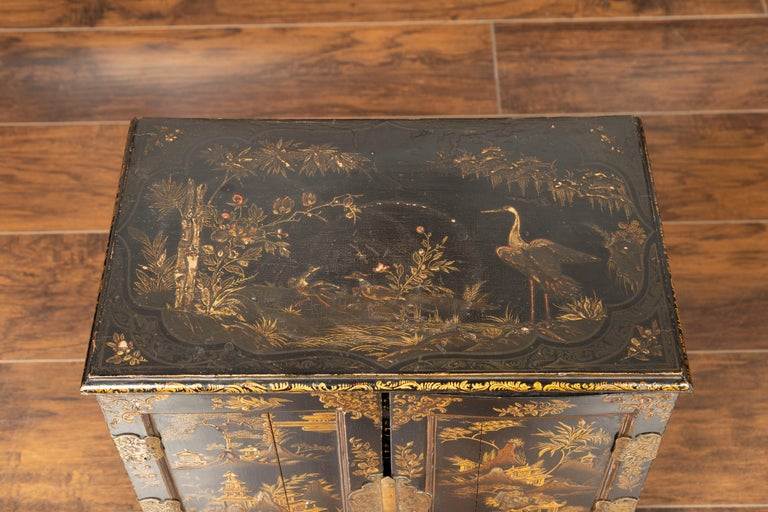 Small English 1890s Black and Gold Chinoiserie Cabinet with 10 Hidden Drawers For Sale 13