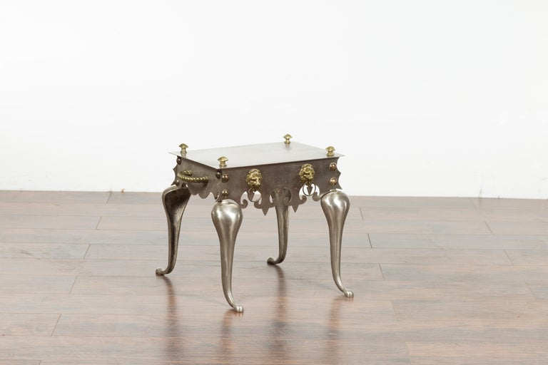 Small English 1900s Steel and Brass Side Table with Lion Heads and Curving Legs For Sale 6
