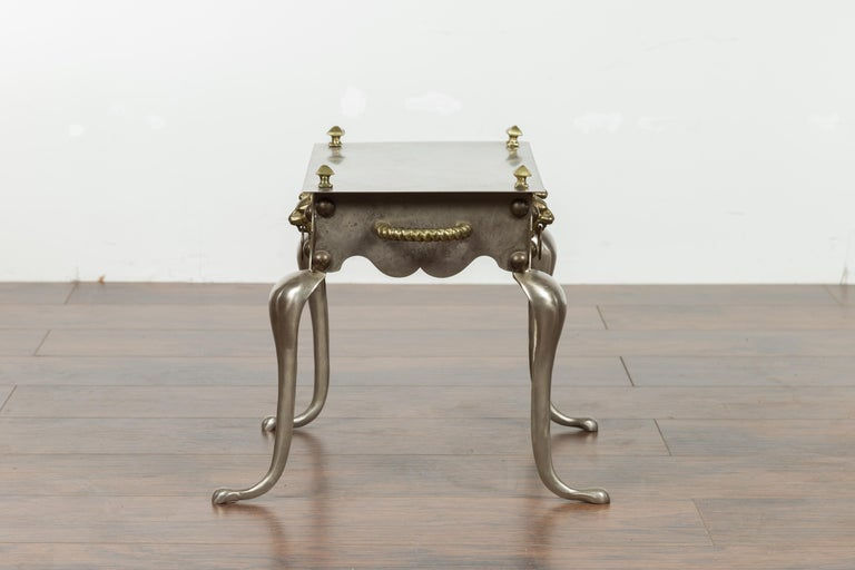 Small English 1900s Steel and Brass Side Table with Lion Heads and Curving Legs For Sale 7