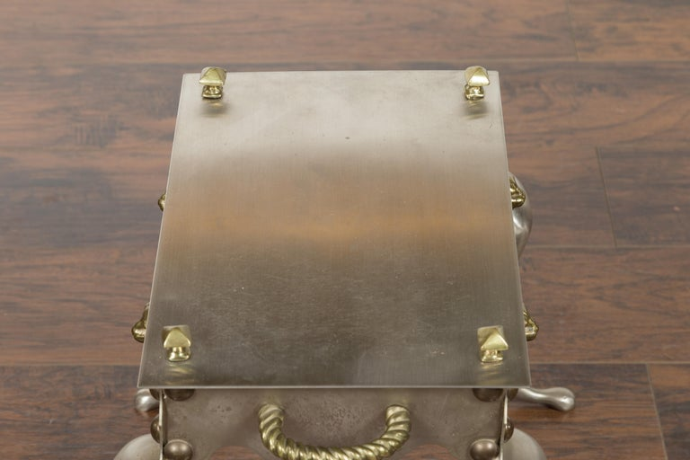 Small English 1900s Steel and Brass Side Table with Lion Heads and Curving Legs For Sale 8