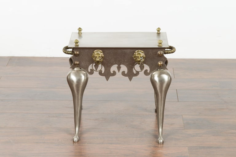 20th Century Small English 1900s Steel and Brass Side Table with Lion Heads and Curving Legs For Sale