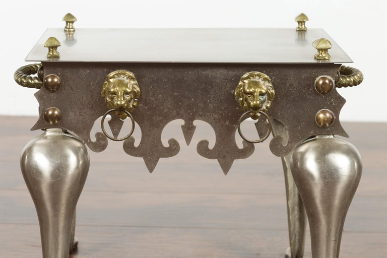 Small English 1900s Steel and Brass Side Table with Lion Heads and Curving Legs For Sale 5